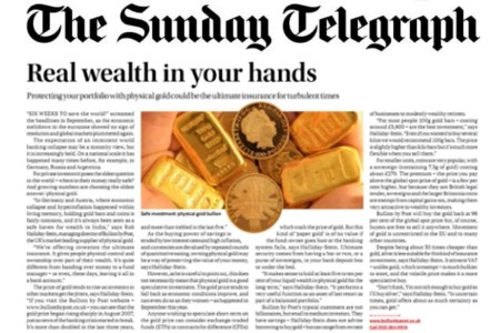 Real wealth in your hands - Physical gold bullion